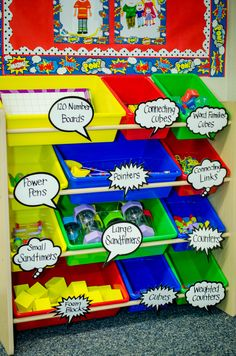 Classroom Style Tip: Keep manipulatives organized and easily accessible in cute storage bins labeled with Superhero Accent pieces that match the rest of your classroom decor.