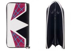 Carry around your cards and cash like a hero with this wallet styled after Spider Gwen from the iconic Marvel Spider Man series. - 12 card slots - 2 bill compartments - Zipper compartment - Gusseted i