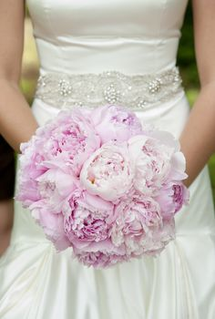 "Peony | beautiful bouquet of pink ""Sarah Bernhardt"" peony, wrapped in ... Last weeks brides Bouquet"