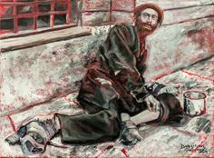 """This painting is from the Holocaust Series painted by Judith Dazzio. """" The beggar """" is painted from an actual photo taken by the SS. He was living in the Warsaw Ghetto."""