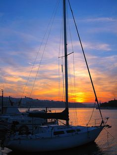 See you tomorrow - sunset over yachts moored in Menorca, #Spain