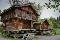 Log Houses at Norsk Folkemuseum - Oslo Norway Viking House, Viking Life, Scandinavian Architecture, Architecture Design, Amazing Architecture, Cabin Homes, Log Homes, Shed Design, House Design