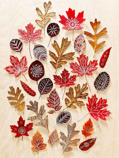 Autumn Art: Use beautiful fall leaves as canvases for doodle designs. Press colorful finds inside a heavy book for about 10 days, then draw on them with metallic paint markers. To add a bit more strength and shine, seal the finished leaves with Mod Podge. Autumn Leaves Craft, Autumn Crafts, Fall Crafts For Kids, Autumn Art, Nature Crafts, Kids Crafts, Crafts To Make, Arts And Crafts, Winter Craft