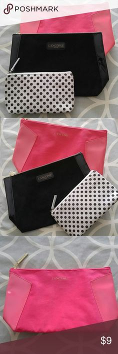 Bundle Lancome Makeup Bags Bundle of three new makeup bags from Lancome. Includes pink, black, and white with black polka dots. Various sizes. All three are brand new, never used. The plastic film is still on the zippers of the black and pink bags as pictured. Both black and pink bags have a suede feel to them with patent trim on the sides (not actually suede though). Lancome Bags Cosmetic Bags & Cases