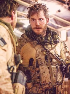 """Before there was GotG, Chris Pratt rocked some Fitzitude as a Navy DEVGRU operator in """"Zero Dark Thirty."""" Definitely shades of Fitz in his look there. Role Call, Handsome Bearded Men, Awesome Beards, Star Lord, Chris Pratt, Military Men, Navy Seals, Special Forces, Armed Forces"""