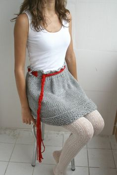 FREE Shipping Gray Wool Hand Knitted Skirt With Red by denizgunes