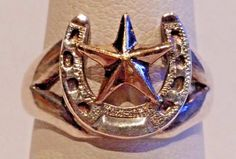 Sterling Silver 14K GF Ladies Horseshoe Sheriff Star Ring by Vogt Size 7.25 #Vogt