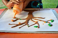puffy paint fall tree craft and art.ART (one of the many materials that children can choose to use to document fall tree)
