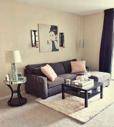 Love the simplicity & cuteness of this! Audrey Hepburn pic: Ikea Side Table: Z Gallerie Couch: Living Spaces