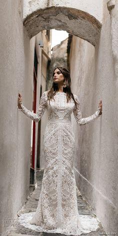 Tara Lauren spring 2017 bridal long sleeves jewel neck full embroidered elegant bohemian lace trumpet sheath wedding dress keyhole back short train (felix) mv #bridal #wedding #weddingdress