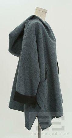 oversized cashmere coats   Eskandar Blue Black Wool Cashmere Hooded Coat   eBay