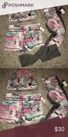 Multi Colored Active Wear! Three piece set. Sports bra is a Small and bottoms are Medium. Live Love Dream sub brand from Aeropostale Aeropostale Pants Ankle & Cropped