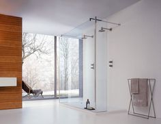 The Logic Horizon shower by Cesana has a walk-in entry, and features expansive linear glass shower panels just right for corner and niche areas. Walk-in entry means that there. Glass Block Shower, Glass Shower Panels, Bathroom Shower Panels, Glass Bathroom, Shower Walls, Glass Panels, Bathroom Shower Enclosures, Luxury Shower, Modern Bathroom Design