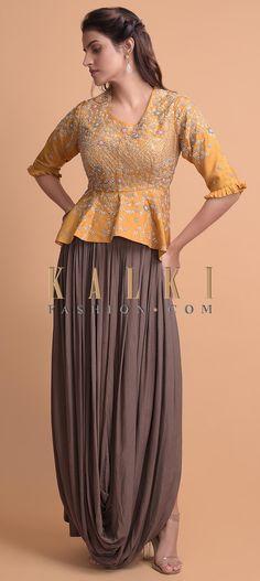Mustard Yellow Peplum Top With High Low Waist And A Cedar Brown Cowl Drape Skirt Online - Kalki Fashion Indian Fashion Dresses, Indian Gowns, Fashion Wear, Indian Outfits, Fashion Pants, Fashion Tips, Anarkali, Lehenga, Peplum Top Outfits