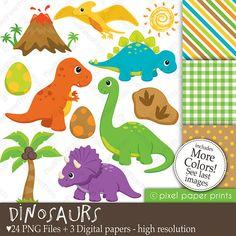 Dinosaurios Set de Clip Art y Papeles por pixelpaperprints en Etsy