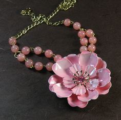 Pink Flower Necklace, Repurposed Jewelry. $47.00, via Etsy.