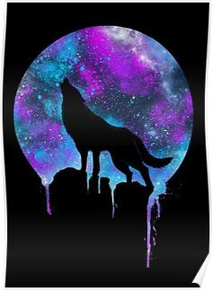 Space Howl Poster Symbolic Tattoos, Galaxy Wolf, Art Inspiration Drawing, Animal Tattoos, Exercises, Symbols, App, Art Drawings, Signs