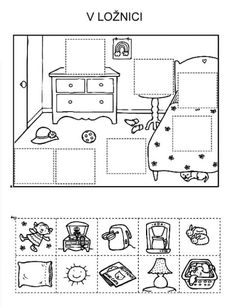 Puzzle cut and paste – bedroom – Knippen English Activities, Preschool Learning Activities, Kindergarten Worksheets, Educational Activities, Teaching Kids, Kids Learning, Cut And Paste, Speech And Language, Teaching English
