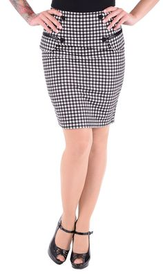 Noble Retro GINGHAM Fifties Falda LÁPIZ / falda - Negro / Blanco Rockabilly | eBay