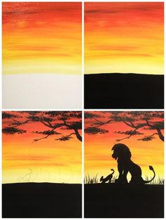 "Evolution of ""African Lions"" Painted @ Painting with a Twist Miami, using the iphone app, Pic Jointer - Kunst Diy Painting, Painting & Drawing, Silhouette Painting, Step By Step Painting, Painting Techniques, Painting Tutorials, Learn To Paint, African Art, African Animals"