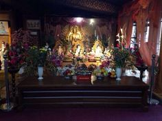 Buddhist Altar in Sakyavanaram Temple, West Java, Indonesia. This picture was taken by a fried of mine, Stacey, who was visiting the temple with her father.  #Buddhist #Buddhism #Temple #Altar #Dharma #friend #friendship #Indonesia