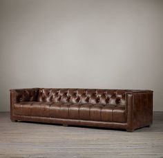 RHu0027s Savoy Leather Sofa:Evoking The Tailored Elegance Of English Art Deco  Furniture Of The Our Sofa Features A Square Frame And Deep Button Tufting.