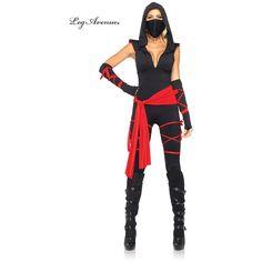 Women's Ninja Costume for Halloween ($45) ❤ liked on Polyvore featuring costumes, halloween costumes, multicolor, sexy women halloween costumes, ladies halloween costumes, women warrior costume, sash belt and womens costumes