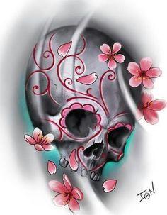 Resultado de imagen para beautiful skull tattoos for women Trendy Tattoos, New Tattoos, Body Art Tattoos, Tattoos For Women, Future Tattoos, Heart Tattoos, Tatoos, Tattoo Artwork, Skull Artwork