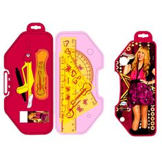 Hannah Montana Mathematical Set — This set has one pack content 15 cm scale, set square 45 degree, set square 60 degree and protractor of 180 degree, a compass and eraser. This set shows accurate measurements with bold markings with clear visibility. It has thick, broad and sturdy scale, with rounded edges. The best thing is its nice plastic case with Hannah Montana picture on it. A perfect gift for your preteen school girl.