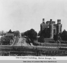 View from the levee of the Old State Capitol and grounds in Baton Rouge Louisiana :: State Library of Louisiana Historic Photograph Collection