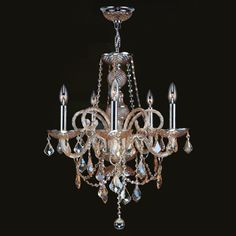 "View the Worldwide Lighting W83102C20-AM Provence 5 Light 1 Tier 20"" Chrome Chandelier with Gold Crystals at LightingDirect.com."