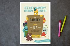 Lil Booger Monsters Children's Birthday Party Invitations by Melanie Pavao at minted.com