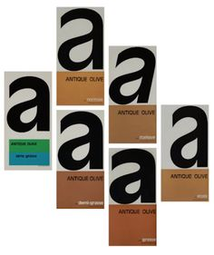 Specimens for the bold version of Antique Olive, published by Founderie Olive in 1963.