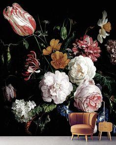 Dark floral peel and stick wallpaper Dutch flowers oil | Etsy
