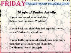 30 Day work out challenge Friday  target your trouble spot