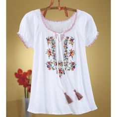 Floral Embroidered Peasant Top - Women's Clothing, Jewelry, Fashion Accessories & Gifts for Women with a Flair of the Outdoors | NorthStyle