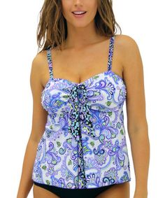 Look at this #zulilyfind! Dolce Grape Ice Fit 4 Ur Tummy Pleated Tie-Front Tankini Top #zulilyfinds