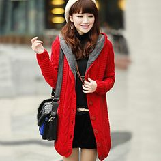 Red Fur Lined Hooded Chunky Cable Knit Sweater Cardigan Coat @ LightInTheBox $27