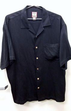 TOMMY BAHAMA Men's Short Sleeve Button Front Black 100% Silk Size Large #TommyBahama #ButtonFront