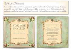 Vintage Parisian Wedding Invitation from A Whole Lot of Lovely (www.awholelotoflovely.com)