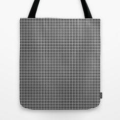 White On Black Grid - Pattern Tote Bag
