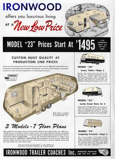 Ironwood trailer coaches | Vintage mobile home ad | Factory built | [1950's]