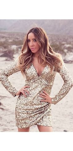 Gold Sequin Long Sleeve Plunge V Neck Ruched Tulip Bodycon Mini Dress