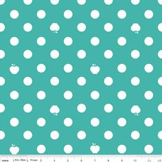 1 yard Turquoise White Polka Dot and Apple by avisiontoremember, $8.75
