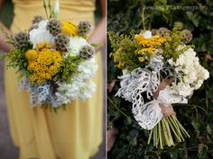 Rustic floral bouquet by French Buckets, with yellow, grey, white, and lace #frenzelstudios  burlap,