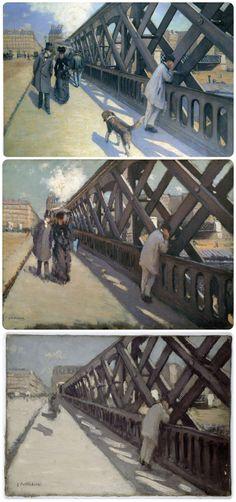 Elaborazione di Gustave Caillebotte, con i due studi (il primo dal vero, il secondo rielaborato), del suo scorcio su Pont de l'Europe, realizzato nel 1876, ora al Musée du petit palais, Genève.