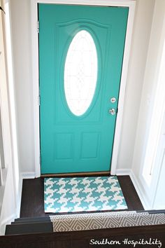 I like the idea of painting interior doors in an unexpected color~ front door Annie Sloan Florence Painted Interior Doors, Painted Doors, Wooden Doors, Blogger Home, Front Door Colors, Annie Sloan, Malm, Ikea Hacks, Style At Home