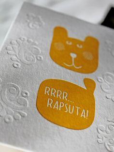 Sudenmarjan Rrrrr rapsuta -kortti (letterpress) - Astubutiikkiin.fi