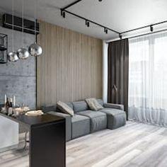 Квартира 57 кв.м. в индустриальном стиле в тетрисс-холл г.киев гостиная в стиле лофт от студия архитектуры и дизайна дарьи ельниковой лофт | homify Divider, Curtains, Room, Furniture, Wave, Home Decor, Bedroom, Blinds, Rooms