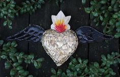 White Wood Heart Tin Wings Gold Milagros Folk Art Michoacán Mexico Love Token!